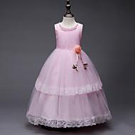 Princess Long Length / Midi Flower Girl Dress - Organza / Tulle / Satin Chiffon Sleeveless Jewel Neck with Petal / Pearls / Tier by LAN TING Express