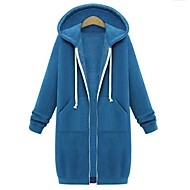 Women's Plus Size Basic / Street chic Cotton Slim Hoodie Jacket - Solid Colored Navy Blue XXXL / Fall / Winter