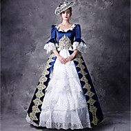 Victorian Duchess Rococo Baroque Victorian 18th Century Square Neck Dress Outfits Party Costume Masquerade Women's Lace Costume Red / Blue Vintage Cosplay Party Prom 3/4 Length Sleeve Floor Length