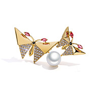 Women's AAA Cubic Zirconia Brooches Classic Butterfly Ladies Stylish Luxury Pearl Silver Plated Gold Plated Brooch Jewelry Gold Silver For Engagement