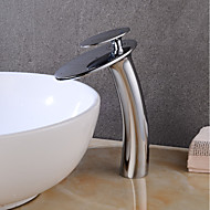abordables -robinet d'évier de salle de bain cascade nickel brossé avec tuyau d'alimentation, robinet de lavabo à monocommande monotrou, mitigeur de lavabo à corps incliné commercial grand corps