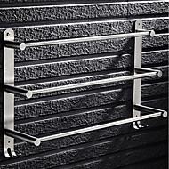 abordables -Porte-serviettes en acier inoxydable argenté 3 niveaux porte-serviettes de bain porte-serviettes porte-serviettes antirouille support de pantoufle avec 2 crochets mural 40/50 / 60cm