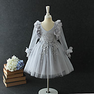 A-Line / Princess Medium Length / Midi Flower Girl Dress - Chiffon / Organza / Tulle Long Sleeve V Neck with Petal / Butterfly / Tiered by LAN TING Express