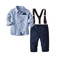 Copii Băieți De Bază Zilnic Mată / Dungi Manșon Lung Regular Regular Bumbac / Poliester Set Îmbrăcăminte Albastru Deschis