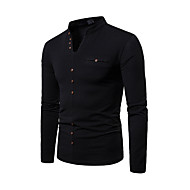 Men's Daily T-shirt Graphic Solid Colored Long Sleeve Tops V Neck White Black Light gray