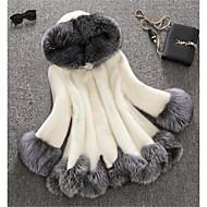 billige -Dame Vinter Store størrelser Lang Faux Fur Coat, Fargeblokk Hvit Med hette Langermet Fuskepels Hvit / Svart