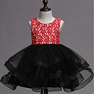 Princess Short Length Flower Girl Dress - Organza Sleeveless Jewel Neck with Tiered by LAN TING Express