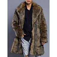 Men's Daily Basic Long Fur Coat, Solid Colored Turndown Long Sleeve Faux Fur / PU Brown
