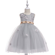Princess Medium Length / Midi Flower Girl Dress - Tulle / Sequined Sleeveless Jewel Neck with Petal / Appliques / Tiered by LAN TING Express
