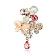 Women's AAA Cubic Zirconia Brooches Classic Butterfly Ladies Stylish Classic Rhinestone Brooch Jewelry Gold For Daily