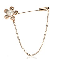 Women's Brooches 3D Flower Ladies Stylish Simple Imitation Pearl Rhinestone Brooch Jewelry Gold For Daily