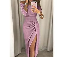 Women's Party Evening / Daily Elegant Slim Bodycon Dress - Solid Colored Split Off Shoulder Red Light gray Champagne XL XXL XXXL