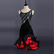 Latin Dance Dresses Women's Performance Spandex / Organza Split Joint / Crystals / Rhinestones Sleeveless Dress