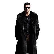 povoljno -Muškarci Klasični rever Zima Kaput Maxi Jednobojni Sofisticirano Veći konfekcijski brojevi Dugih rukava Umjetno krzno Crn Braon S M L