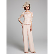 Pantsuit / Jumpsuit Bateau Neck Floor Length Chiffon / Lace Mother of the Bride Dress with Lace by LAN TING BRIDE®