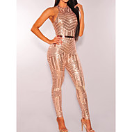 Women's Club Crew Neck Black Beige Pencil Slim Jumpsuit Onesie, Solid Colored Sequins S M L Sleeveless