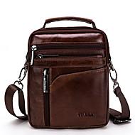Men's Zipper Nappa Leather Shoulder Messenger Bag Solid Color Black / Dark Brown