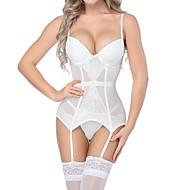 Women's Lace / Bow Super Sexy Gartered Lingerie / Suits Nightwear Solid Colored Underbust Corset Overbust Corset Corset Set White M L XL / Deep V