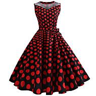 Audrey Hepburn Polka Dots Retro Vintage 1950s Dress Women's Tulle Costume Fuschia Vintage Cosplay Sleeveless Knee Length