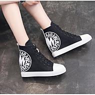Women's Canvas Fall Sneakers Wedge Heel Black / Light Blue