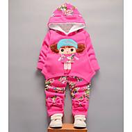 مجموعة ملابس كم طويل هندسي / لون سادة رياضي Active للفتيات طفل صغير
