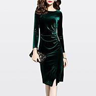 نسائي قياس كبير فستان طول الركبة فستان شيث - كم طويل لون سادة الخريف الشتاء مناسب للخارج مخمل أسود أخضر M L XL XXL XXXL