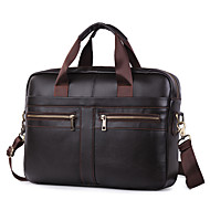 Men's Zipper Nappa Leather Briefcase Solid Color Dark Brown / Fall & Winter