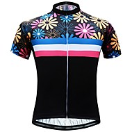 JESOCYCLING Women's Short Sleeve Cycling Jersey Black Floral Botanical Bike Jersey Top Mountain Bike MTB Road Bike Cycling Breathable Moisture Wicking Quick Dry Sports 100% Polyester Clothing Apparel
