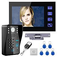 billige -kablet 7-tommers handsfree en til en video porttelefon dørklokke 960 * 480 intercom system kit elektrisk strekslås trådløs fjernkontroll låse opp fjernkontroll for tilgangskontroll system