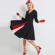 Audrey Hepburn Retro Vintage Little Black Dress 1960s Wasp-Waisted Dress Women's Costume Black Vintage Cosplay 3/4 Length Sleeve Long Length