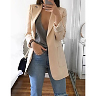 cheap -Women's Daily Basic Spring Regular Blazer, Solid Colored Notch Lapel Long Sleeve Polyester Blushing Pink / Gray / Khaki