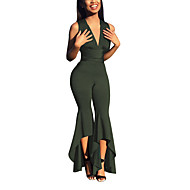 Women's Club Black Wine Army Green Jumpsuit, Solid Colored M L XL Sleeveless Summer