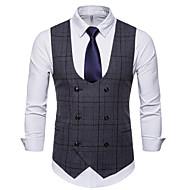 Men's V Neck Vest Regular Plaid Work Business Spring Fall Sleeveless Light gray / Dark Gray / Brown M / L / XL / Winter / Slim