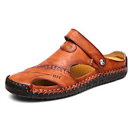 Men's Comfort Shoes Summer Casual Daily Beach Sandals Walking Shoes Cowhide Breathable Light Brown / Dark Brown / Black