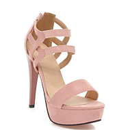 Women's Suede Spring Sweet / Minimalism Heels Stiletto Heel Open Toe Black / Beige / Pink
