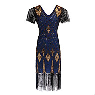 The Great Gatsby Charleston Vintage 1920s Flapper Costume Flapper Dress Women's Sequins Costume Black / Golden / Blue Vintage Cosplay Party Homecoming Prom Short Sleeve Knee Length
