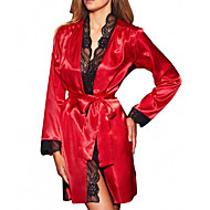Women's Lace Sexy Robes / Satin & Silk Nightwear Solid Colored / Patchwork Black Blue Red S M L