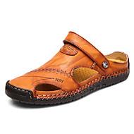 저렴한 -남성용 편안한 신발 봄 / 여름 캐쥬얼 비치 샌들 워킹화 가죽 통기성 어두운 무늬 / 브라운 / 블랙