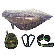 Camping Hammock with Pop Up Mosquito Net Hammock Rain Fly Double Hammock Outdoor Lightweight Sunscreen Breathable Parachute Nylon with Carabiners and Tree Straps for 2 person Camping / Hiking Hunting