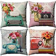 4 pcs Cotton / Linen Pillow Cover, Floral Pattern Floral Print Flower Patterned