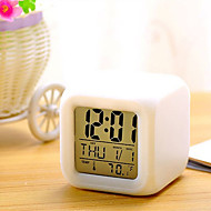 7 Colors LED Changing Digital Alarm Clock Desk Thermometer Night Glowing Cube LCD Clock