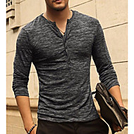 Men's Daily Basic / Street chic T-shirt - Solid Colored V Neck Black / Long Sleeve
