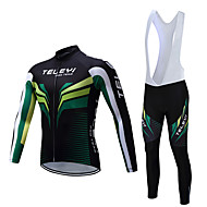 Men's Long Sleeve Cycling Jersey with Bib Tights Winter Fleece Polyester Black White Bike Clothing Suit Fleece Lining Breathable Warm Sports Yarn Dyed Mountain Bike MTB Road Bike Cycling Clothing