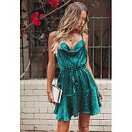 Women's Daily Elegant Sheath Dress - Polka Dot Print Green S M L
