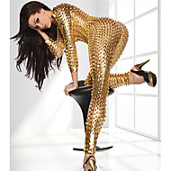 cheap -Shiny Zentai Suits Party Costume Catsuit Adults' Latex Cosplay Costumes Zipper Front Nightclub Jumpsuits Sex Women's Black / Gold / Silver Hollow Christmas Halloween Carnival / Skin Suit