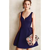 Women's Daily Basic Sheath Dress - Solid Colored Pleated Navy Blue Purple Yellow L XL XXL