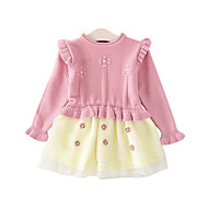 Baby Girls' Active Solid Colored Long Sleeve Dress Blushing Pink / Toddler