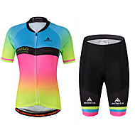 Miloto Women's Short Sleeve Cycling Jersey with Shorts - Rainbow Plus Size Bike Jersey, Reflective Strips, Sweat-wicking Spandex Gradient / Stretchy