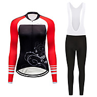 FirtySnow Women's Long Sleeve Cycling Jersey with Bib Tights Winter Fleece Polyester Black White Floral Botanical Bike Clothing Suit Thermal / Warm Windproof Fleece Lining Sports Floral Botanical