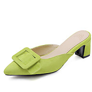Women's Suede Spring & Summer Minimalism Clogs & Mules Chunky Heel Pointed Toe Buckle Red / Green / Pink